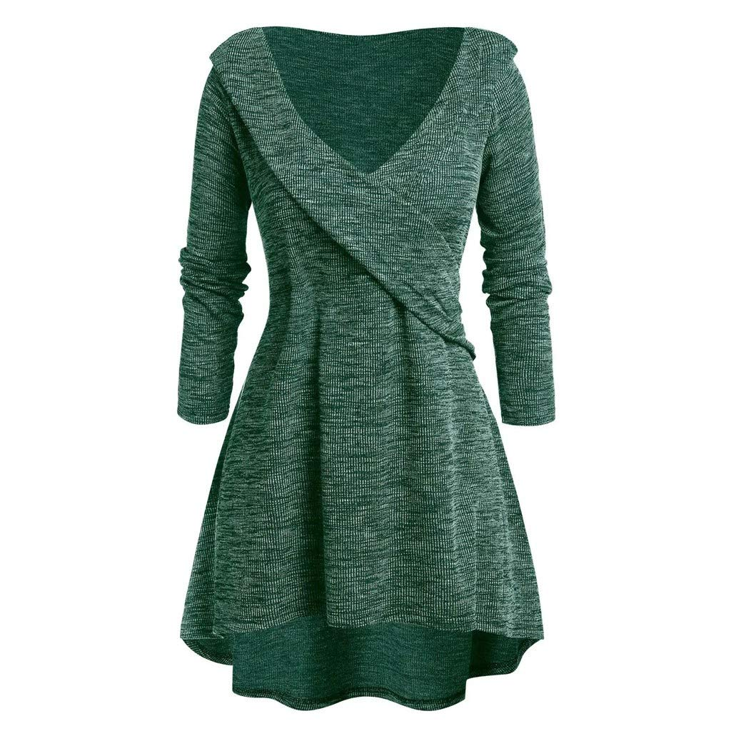 Womens Plus Size Criss-Cross Bandage Sweater Casual V-Neck Long Sleeve Irregural Hem Tops Blouse L-5XL (Large, Green) by Aritone