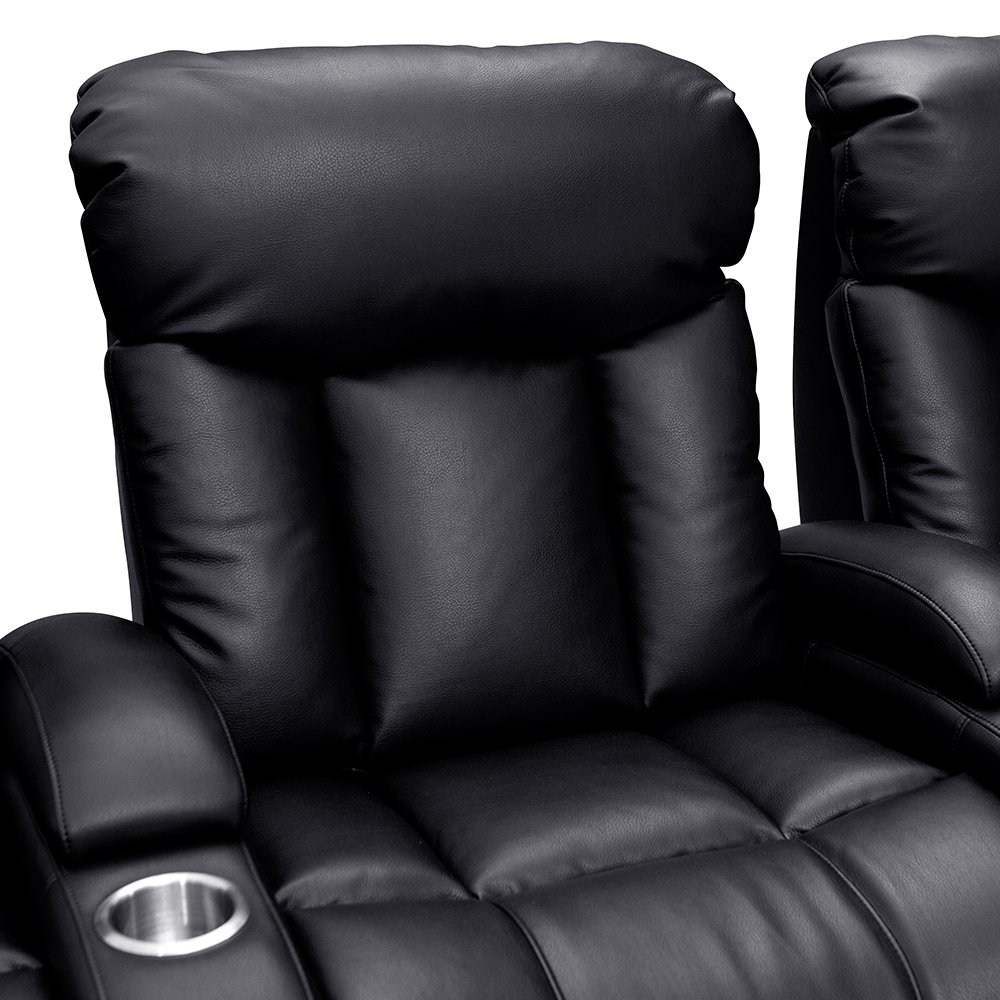 Seatcraft Sausalito Home Theater Seating Manual Recline Leather Gel (Row of 4 Loveseat, Black) by SEATCRAFT (Image #4)
