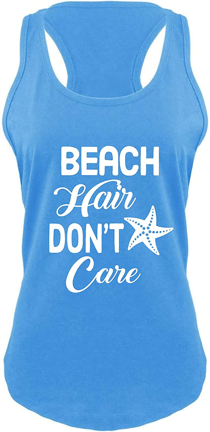 Beach Hair Don't Care Women's Racerback Tank Top - Cute, Comfy, Trendy and Perfect for Summer Vacations!