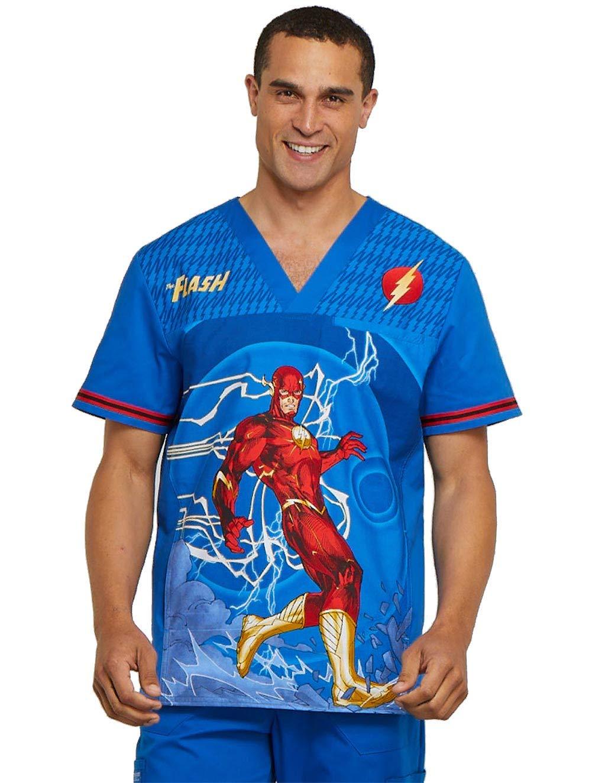 Cherokee Tooniforms The Flash Men/'s V-Neck Scrub Top
