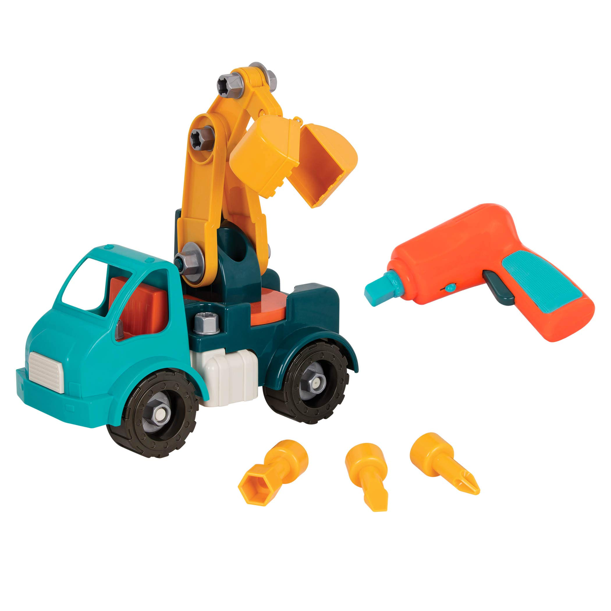 Battat - Take-Apart Crane - Take-Apart Toy Crane Truck with Toy Drill  Building Toys for Kids 3 years + (34-Pcs) by Battat