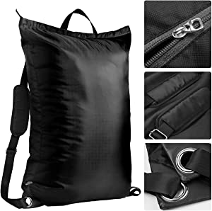 Wallfire Large Laundry Bag Black Laundry Backpack Large Capacity Dirty Clothes Laundry Storage Bag with Adjustable Shoulder Straps for Dorm Camping Laundromat - Black