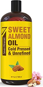 NEW Cold Pressed Sweet Almond Oil - Big 32 fl oz Bottle - Unrefined & 100% Natural - For Skin & Hair, with No Added Ingredients - Perfect Carrier Oil for Essential Oils