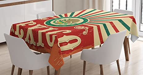 Mexican Decorations Tablecloth By Ambesonne Pop Art Style Mexico Calligraphy With Tribal Classic Icon On