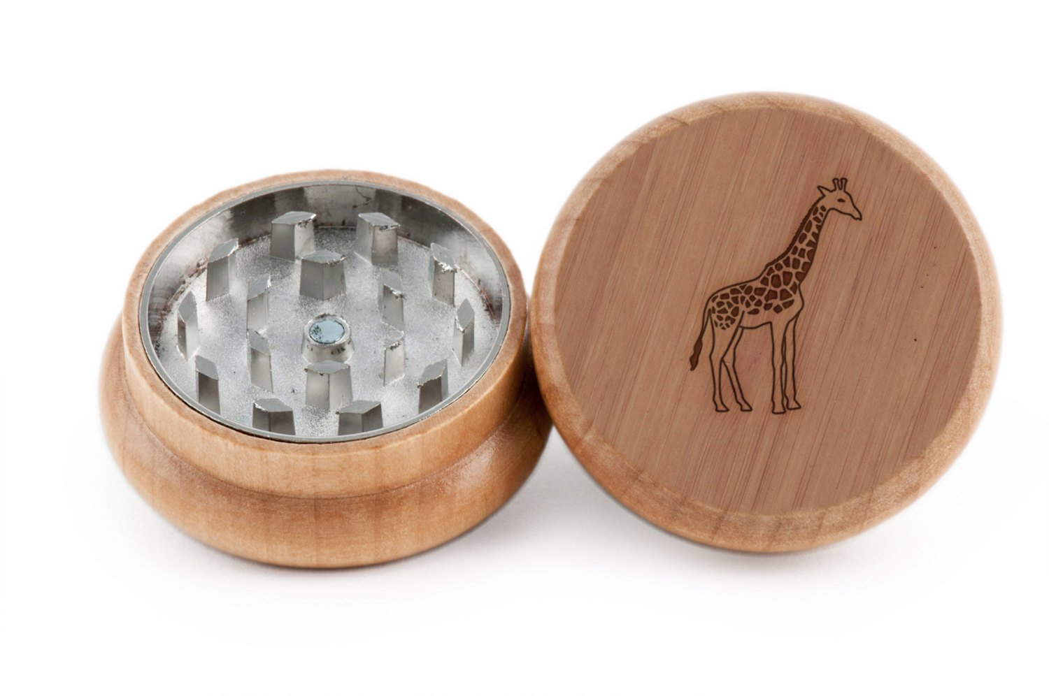 GRINDCANDY Spice And Herb Grinder - Laser Etched Giraffe Design - Manual Oak Pepper Grinder