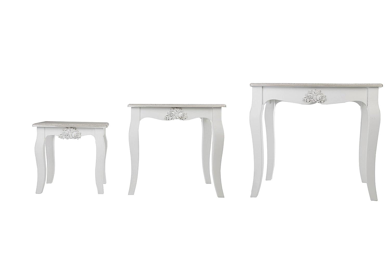 Charme rustique Naturel et blanc Lot de 3 tables gigognes – Grande Hauteur 47 cm X Largeur 53 cm
