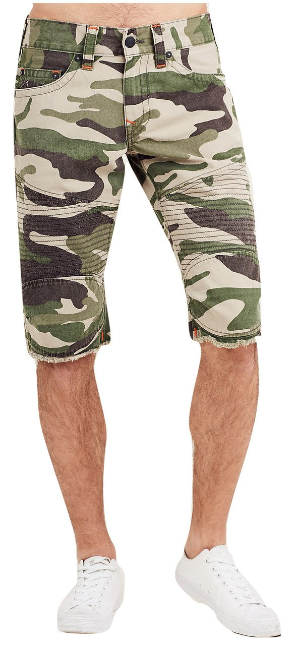 True Religion Men's Moto Cutoff Shorts in Army Camo (38)