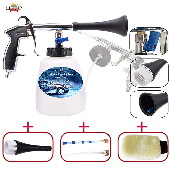 LifeUp Pistola de Limpieza de Aire comprimido, Limpieza Interior del Coche, Pistola de Limpieza de Coches con 1ml Botella de Espuma, para el Cuidado del ...