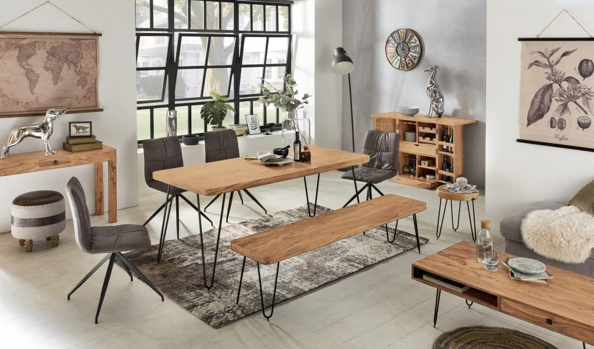 FineBuy Panca da Pranzo 120 cm Legno Massello Acacia//Metallo Stile Moderno Panca da Cucina Panca da Tavolo da Pranzo Sala da Pranzo a Panca Marrone