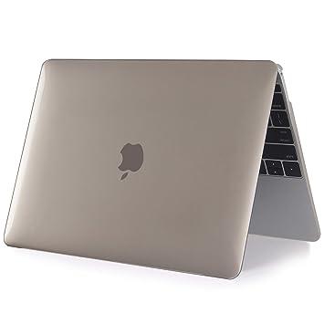 iNeseon Funda para MacBook 12 Pulgada A1534, Carcasa Case Duro y Cubierta del Teclado para Apple MacBook 12 Retina, Cristal Gris