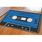 HUGS IDEA Stylish Blue Cassette Print Door Mat Indoor Outdoor Welcome Floor Doormat Front Carpet