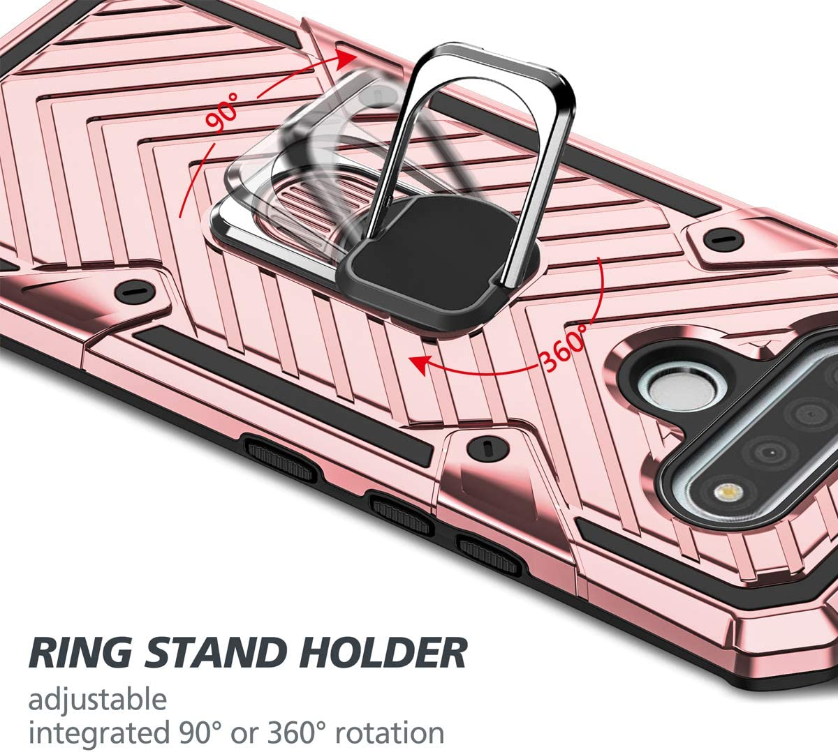 KKG LG Stylo 6 Phone Case,Military Grade Shockproof Dual Layer Protection Case only for LG Stylo 6 ,360 Degree Rotating Ring Adsorbable to Magnetic Car Mount Holder,Rose Gold 6.8 2020
