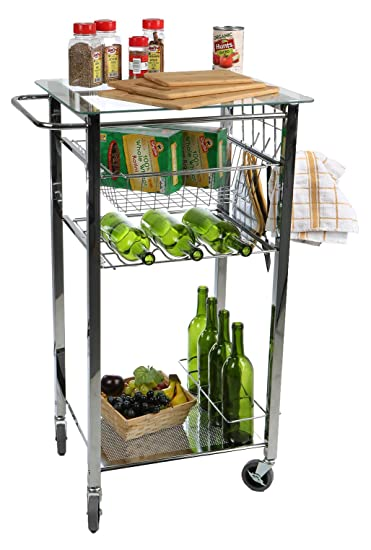 Amazoncom Mind Reader Glass Top Mobile Kitchen Cart With Wine