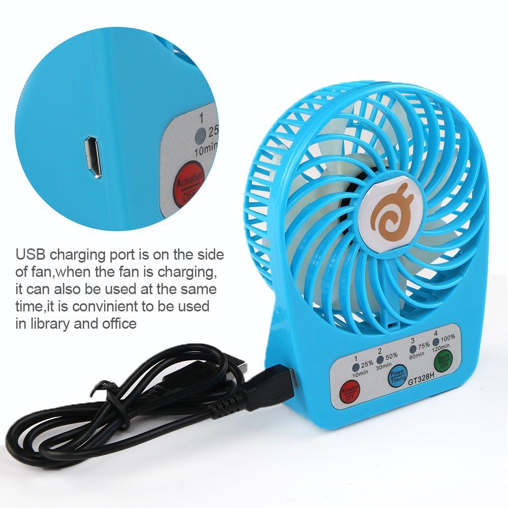 D-FantiX Ventiladores Portatiles Ventilador de Escritorio Con Pilas Mini Ventilador Recargable de 3 Pulgadas con Funcion de Sincronizacion Ventilador ...