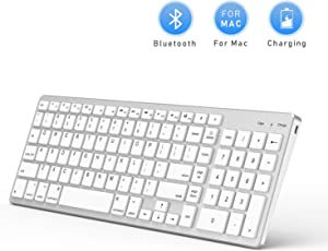 Bluetooth Keyboard for Mac OS, Jelly Comb Ultra Slim Wireless Keyboard for Mac OS/iOS/iPad OS Rechargeable Bluetooth Keyboard MacBook, MacBook Air/Pro iMac, iPhone, iPad Pro- White and Silver