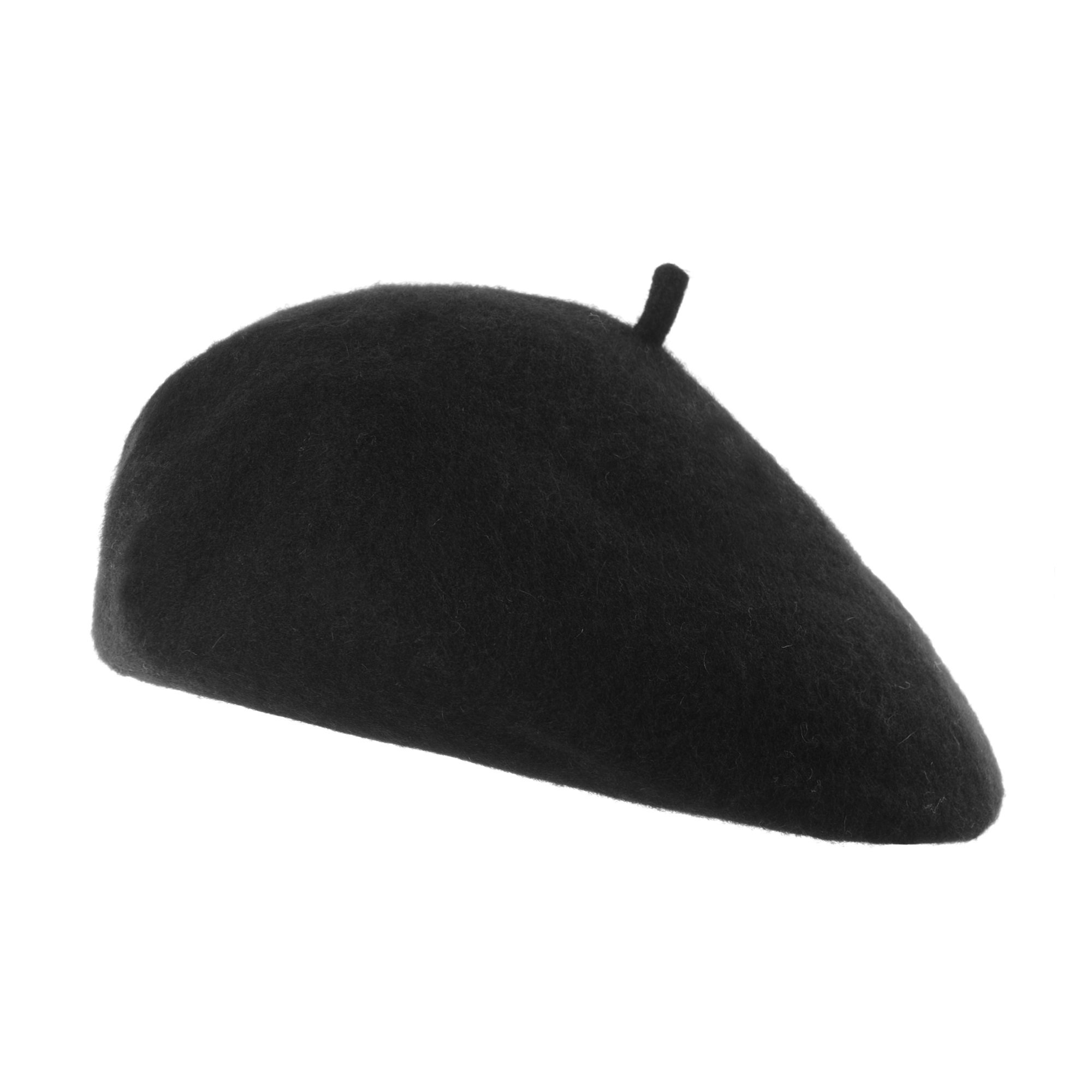 WITHMOONS Wool Beret Hat Warm Winter French Style KR9538 (Black)