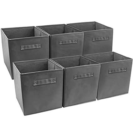 Sorbus Collapsible Storage Bin, Grey (Pack Of 6)