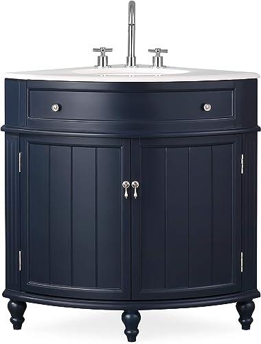 24 Thomasville Navy Blue Modern Slim Corner Bathroom Sink Vanity ZK-47588NB