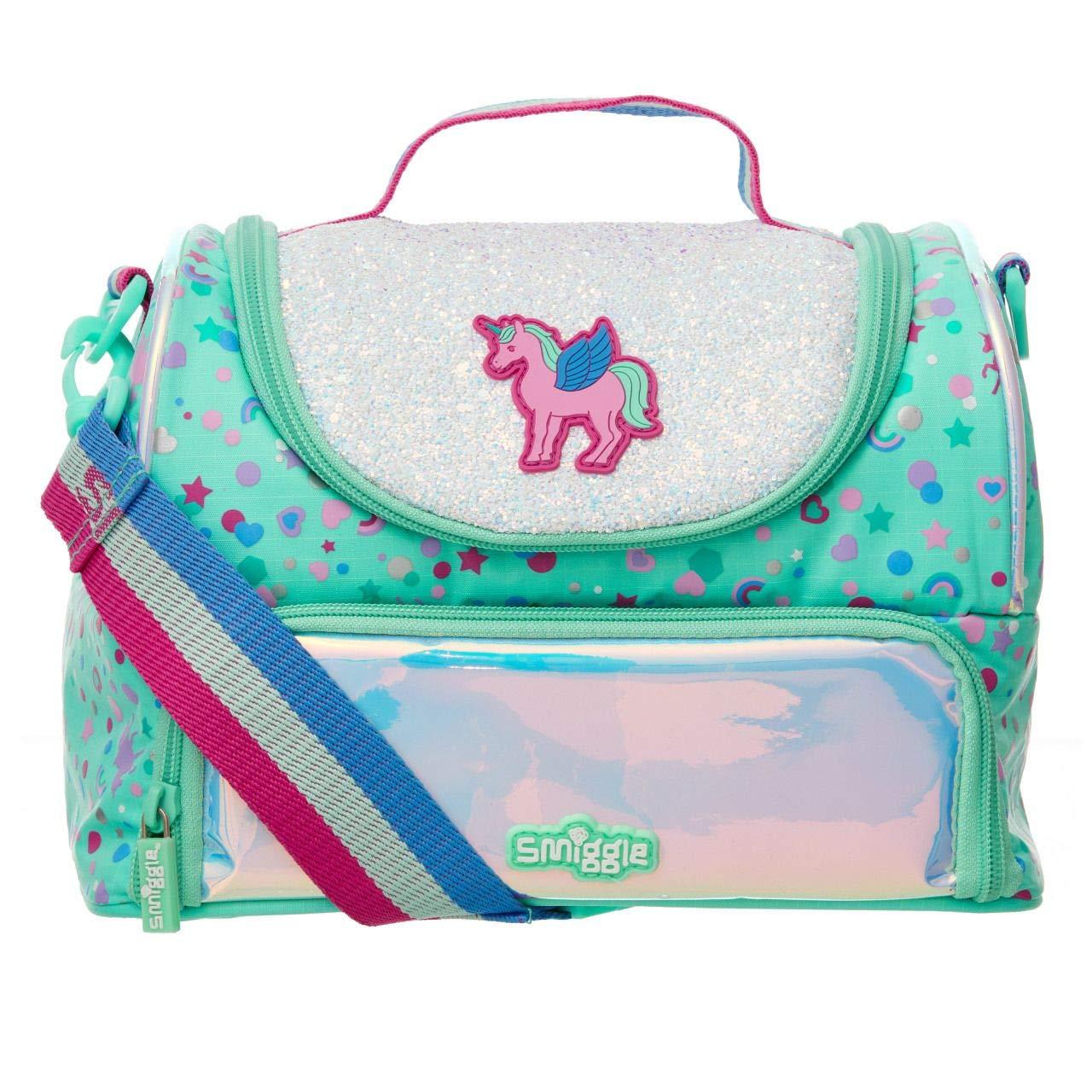 maniglia per il trasporto e doppio scomparto Stampa con unicorno cestino per il pranzo scolastico a due ripiani Smiggle Believe per ragazzi e ragazze con tracolla