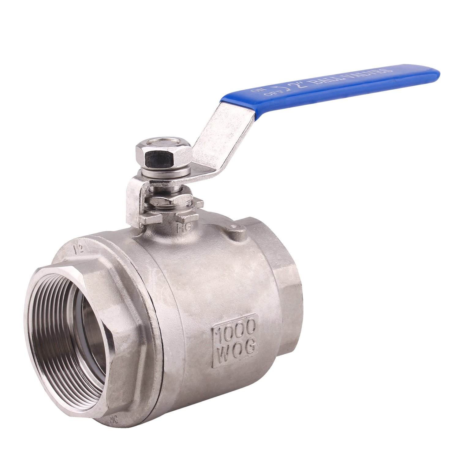 Dernord Full Port Ball Valve Stainless Steel 304 Heavy Duty for Water, Oil, and Gas with Blue Locking Handles (2'' NPT)