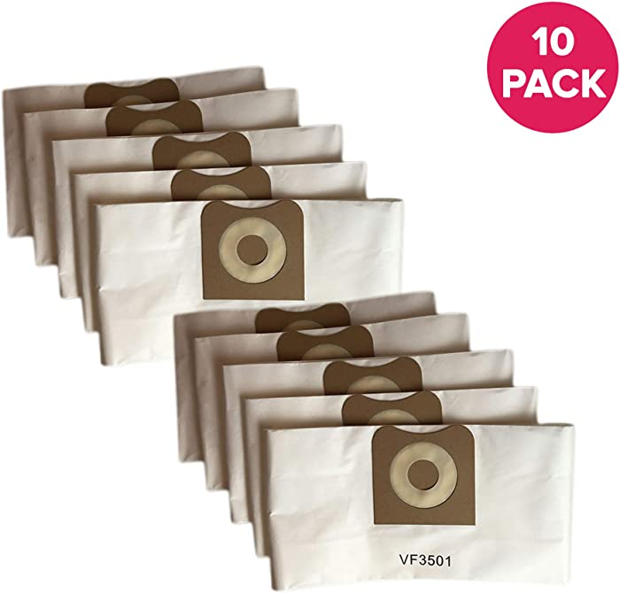 "Crucial Vacuum Replacement Allergen Bags Part # VF3501 - Compatible with Rigid Models WD40500, WD40700, WD40501, WD45500, WD45220-3 - 4.5 Gallon Bag for Vacuums - 11.2"" X 7.9"" X 2"" - Bulk (10 Pack)"