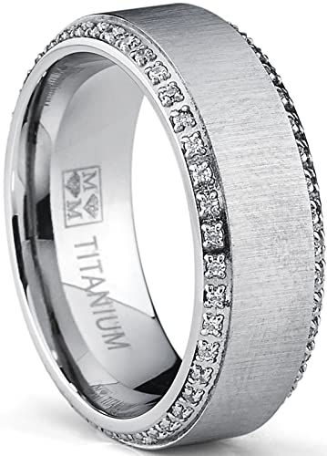 48d54eb670e6c Metal Masters Co. Titanium Men's Brushed Wedding Band Ring with Cubic  Zirconia, Two Row Eternity Ring, 8mm