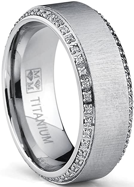 Metal Masters Co. Titanium Mens Brushed Wedding Band Ring with Cubic Zirconia, Two Row Eternity Ring, 8mm | Amazon.com