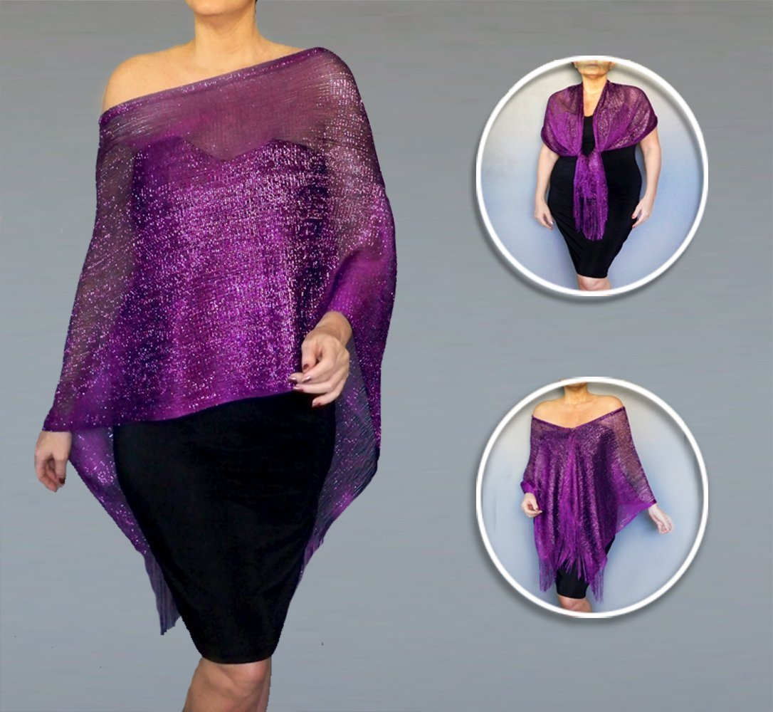 Purple Evening Wrap Semi Sheer Net Shawl Plum Wedding Stole By ZiiCi