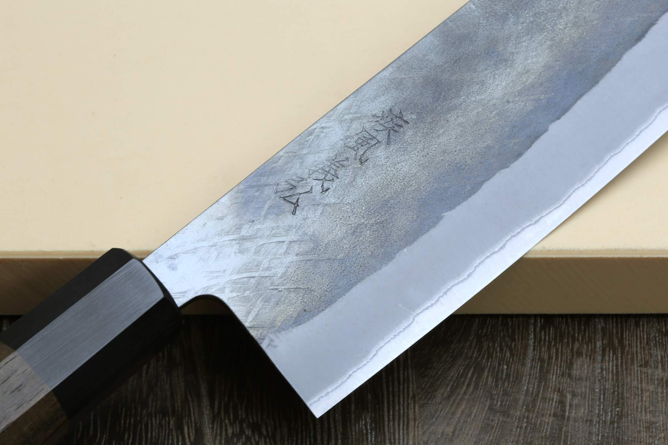 Yoshihiro Kurouchi Black-Forged Blue Steel Stainless Clad Nakiri Japanese Vegetable Knife (6.5'' (165mm) & Saya) by Yoshihiro (Image #4)
