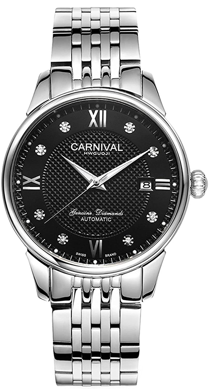 Carlien unisex-adultステンレススチールメッキバンド防水自動機械腕時計 42mm Silver&Black B073Z72B5ZSilver&Black