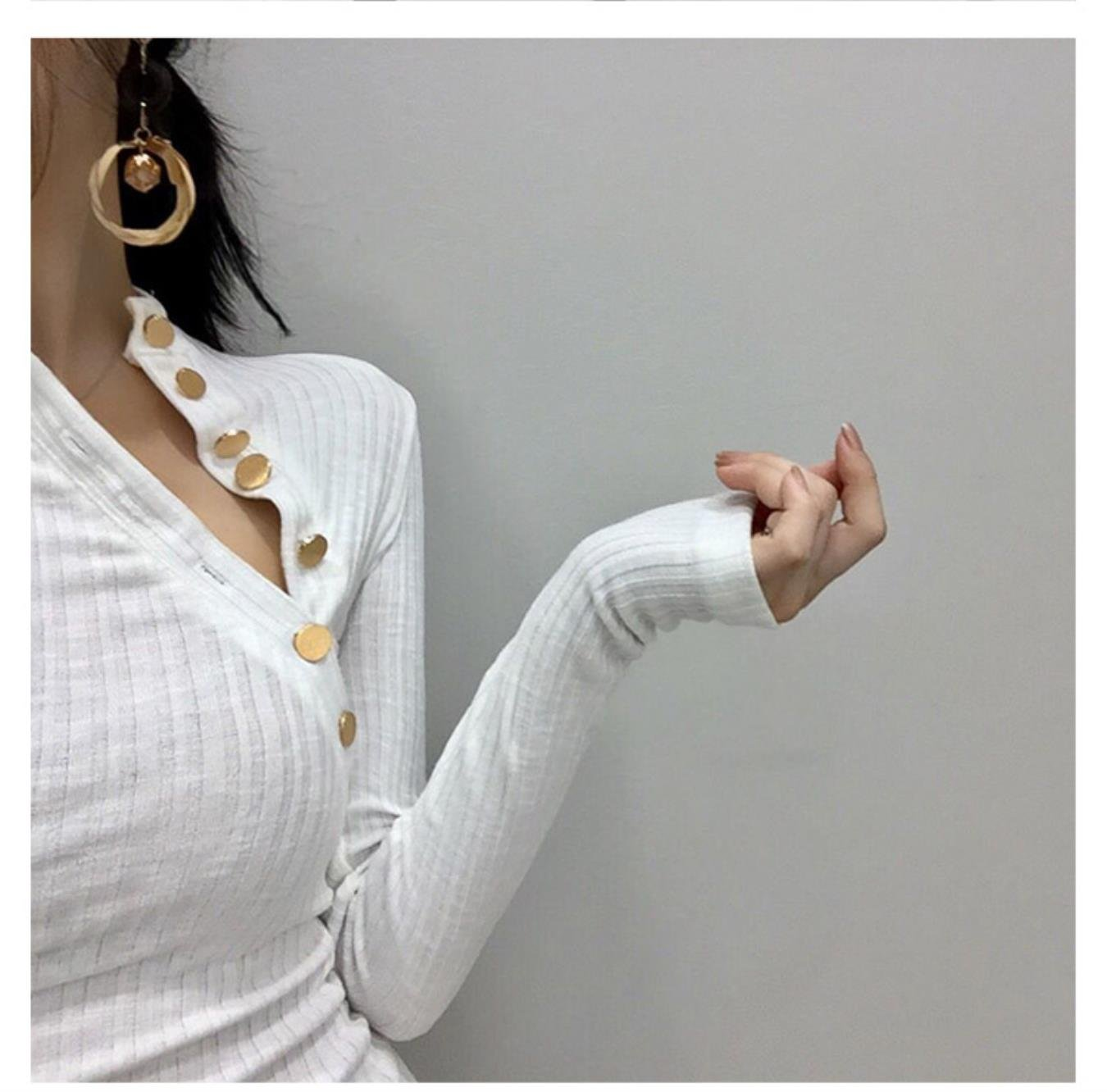 Neploe Vintage Pullover Button Design Long Sleeve Tops Women O-neck Clothes Fashion Sexy Slim Fit Solid Pullovers