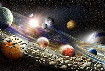LFEEY 5x3ft Fantastic Space Photo Background Numerous Planets Stars Cosmos  Adventure Alien Solar System Photography Backdrop Baby Newborn Kids