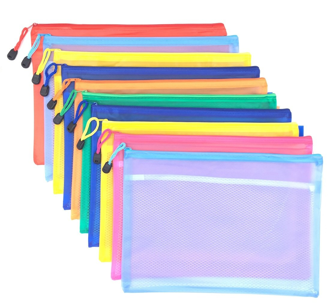Sakolla 10pcs Double Layer Zippered Mesh Waterproof Office File Organizer A4 Size Document Holder/Paper Pouch/Pen Pencil Case/Stationery Storage Bags/Travel Pouch Multicolor
