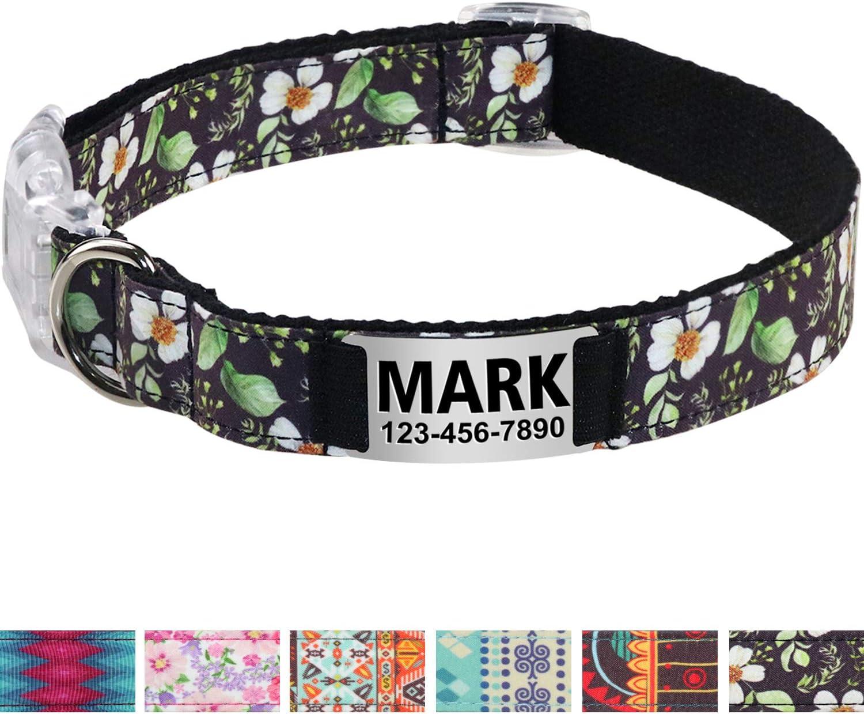 Vcalabashor Collar de Perro Personalizado, Placa de Acero ...