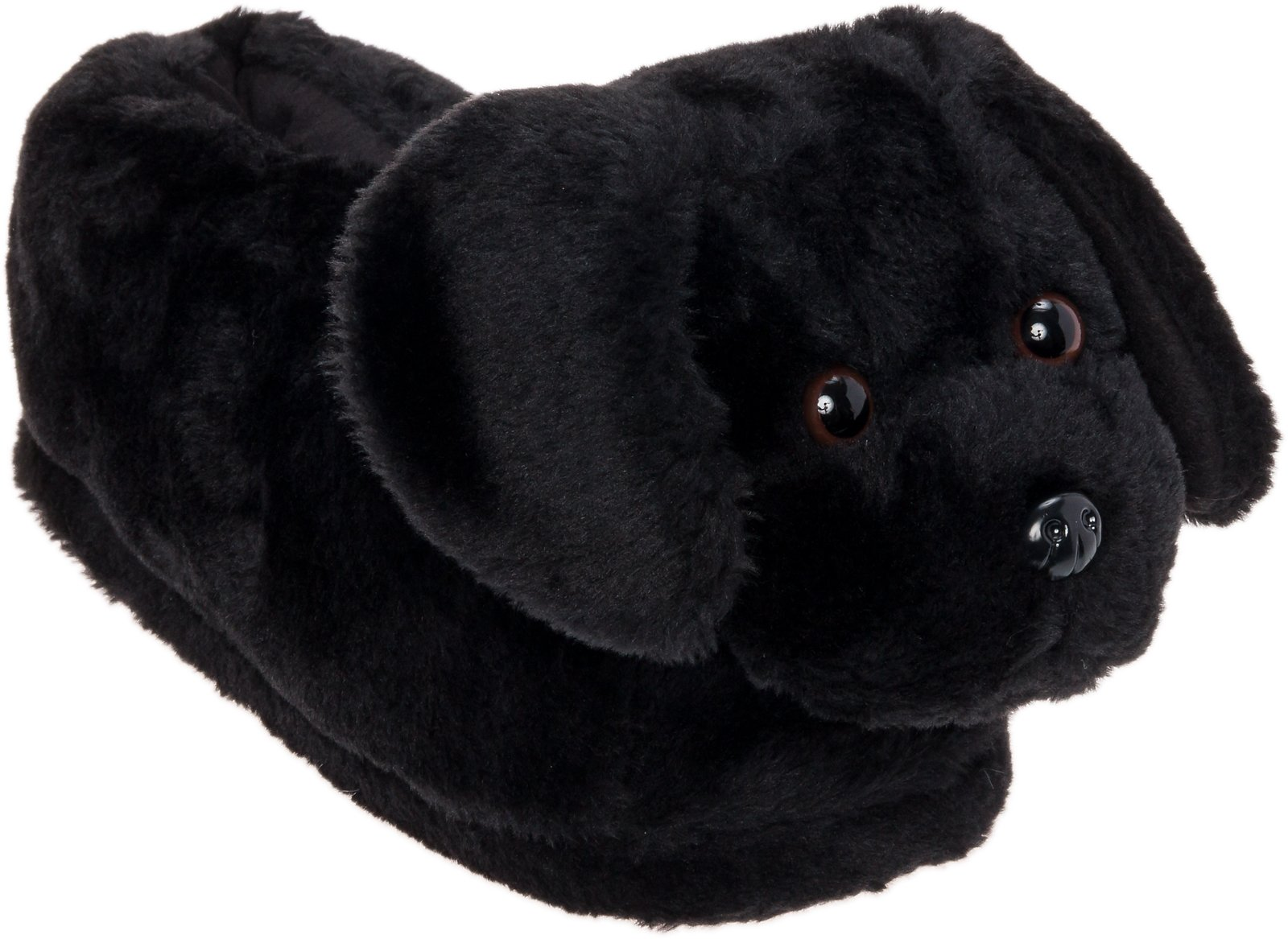 Silver Lilly Black Lab Slippers - Plush Labrador Dog Slippers w/Platform (Black, Medium)