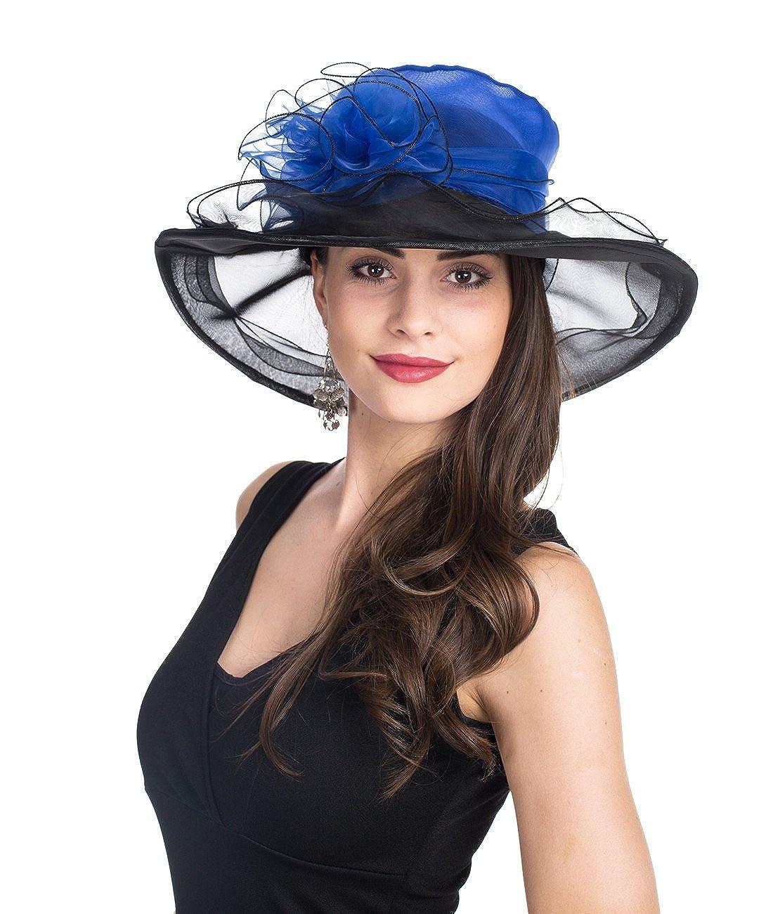 SAFERIN Womens Organza Church Kentucky Derby Hat Feather Veil Fascinator Bridal Tea Party Wedding Hat