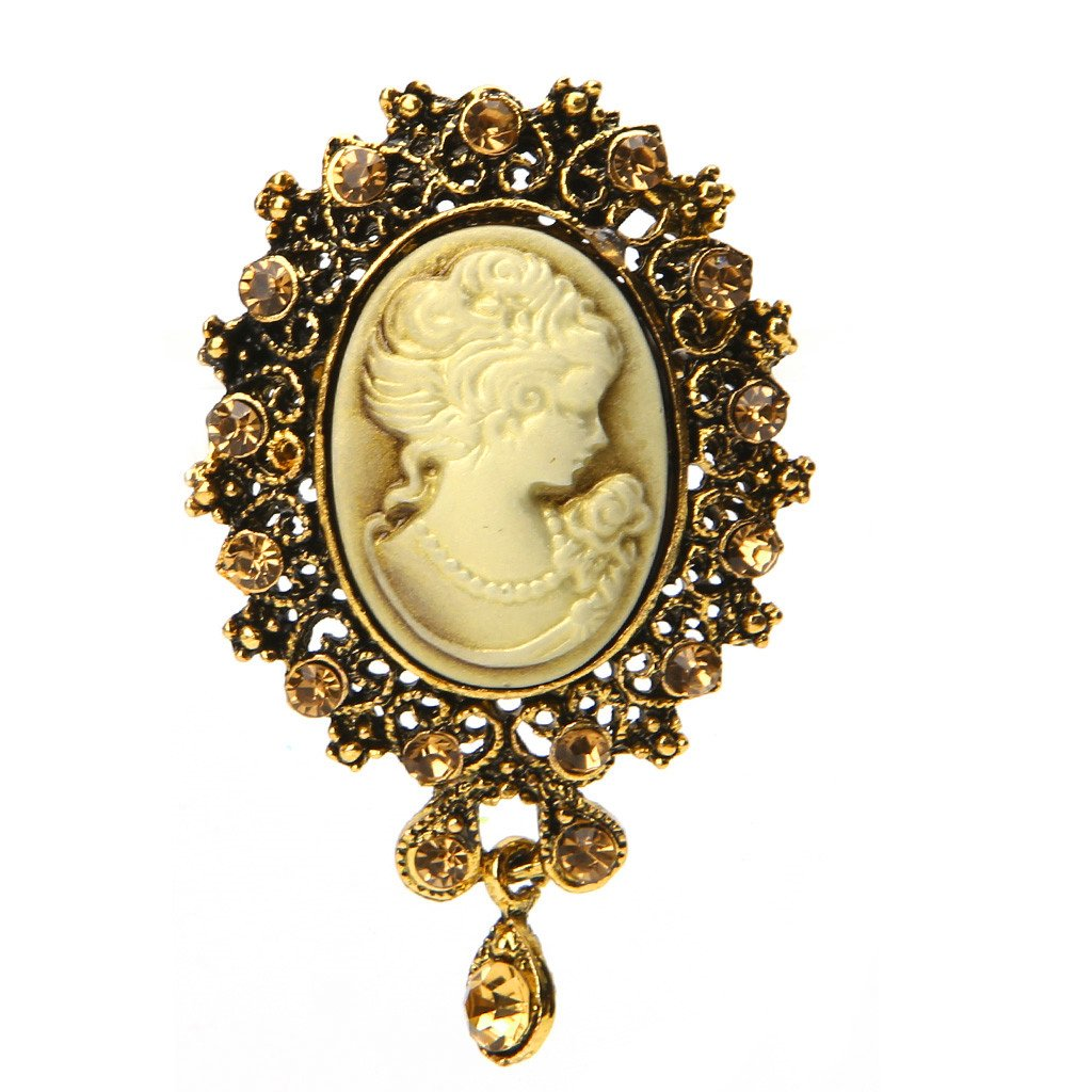 Pink-day Vintage Cameo Victorian Crystal Wedding Party Women Pendant Brooch Pin Jewelry