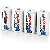 Combo: 4 pcs Tenergy Premium D Size Rechargeable Batteries High Capacity 10000mAh NiMH