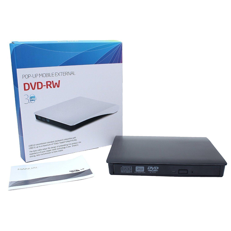 External CD DVD Drive , Portable DVD Rewriter Burner, USB 3.0 DVD Drive CD +/-RW DVD +/-RW Burner Super Drive for Apple Mac Macbook Pro Windows 10 Laptop PC (Black) by feifuns (Image #8)