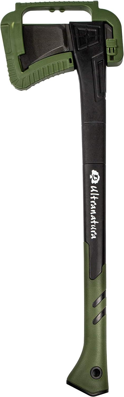 Ultranatura - Hacha Profesional (Diámetro 30 cm, Protector de Hoja Incluido) 71 cm, Negro/Verde