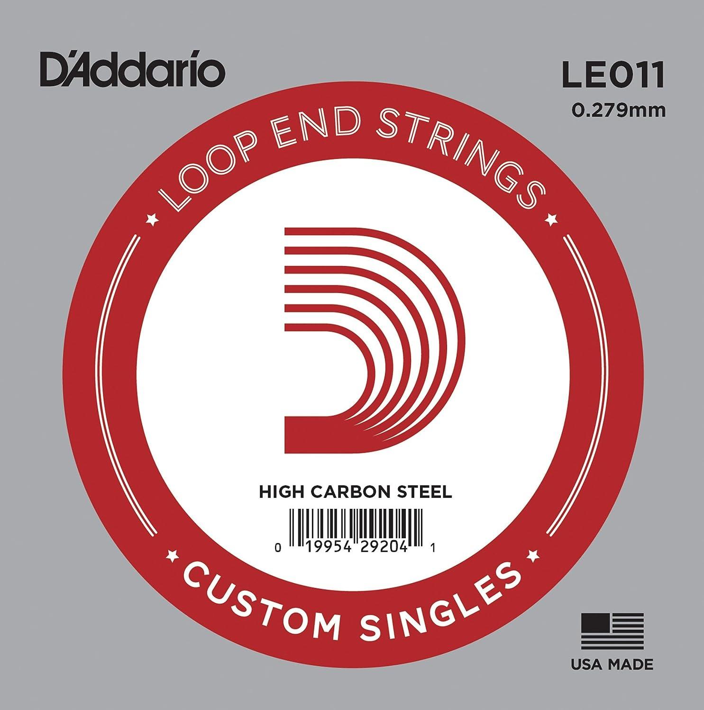 D'Addario LE011, cuerda individual de acero liso con terminación de lazo.011