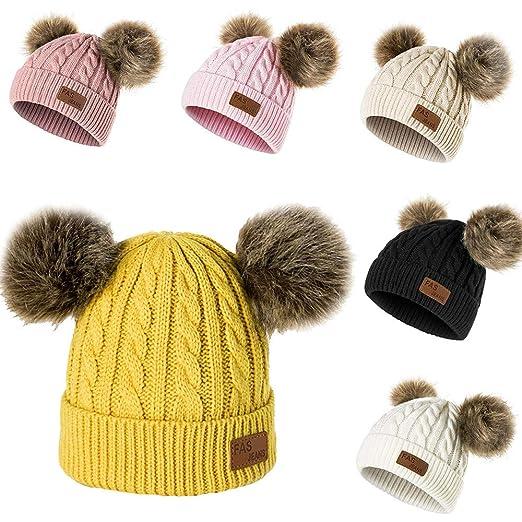 Amazon.com: Longay - Gorro de lana doble para niños (tejido ...