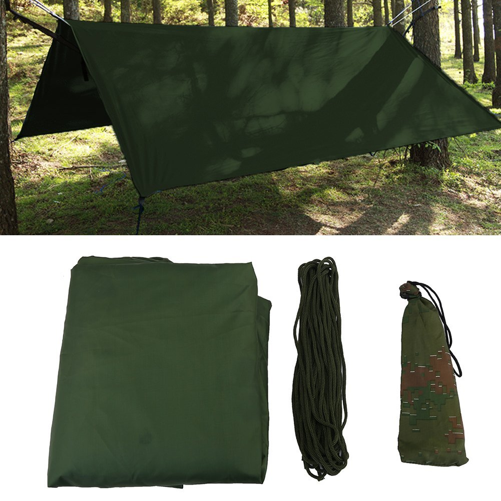 Dioche Outdoor Tent Shelter, Portable Lightweight Waterproof Anti-UV Tarp Fly Tent Tarp for Camping Traveling Fishing(Green) [並行輸入品] B07R4W9382
