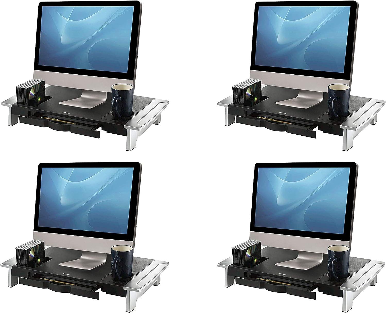 Fellowes Office Suites Premium Monitor Riser, Black (8031001) (Pack of 4)