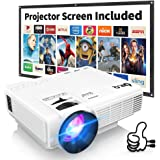 Proyector DR.Q HI-04 con Pantalla de Proyección, 5000 Lumen Proyector de Video Soporta 1080P HD, Proyector Mini Compatible con TV Stick PS4 Xbox Wii HDMI VGA SD AV USB, Home Theater Proyector, Blanco