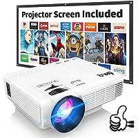 Proyector DR.Q HI-04 con Pantalla de Proyección, 5000 Lux Proyector de Video Soporta 1080P HD, Proyector Mini Compatible con TV Stick PS4 Xbox Wii HDMI VGA SD AV USB, Home Theater Proyector, Blanco.