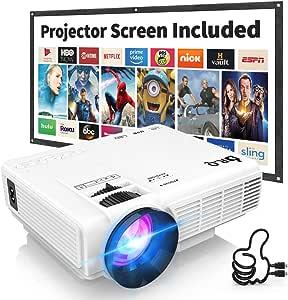 Proyector DR.Q con Pantalla de Proyección, 5000 Lúmenes Proyector de Video Soporta Full HD 1080P, Proyector Mini Compatible con TV Stick HDMI VGA USB TF AV para Cine en Casa y Películas al Aire Libre.