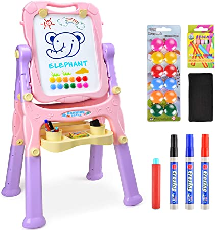 Amagoing Magnetic Easel For Kids 4 In 1 Standing Toddler Art Easel Double Sided Quick Flip Height Adjustable Children Drawing Board With Paper