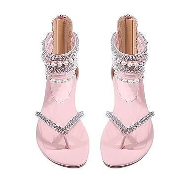 Women Sandals Flat Dress Wedding Sandals Diamond Pearl Thong Rhinestone  Shoes (5(M)