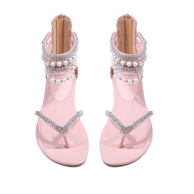 Liyuandian Women Sandals Flat Dress Wedding Sandals Diamond Pearl Thong Rhinestone Shoes (6(M) US, Pink)